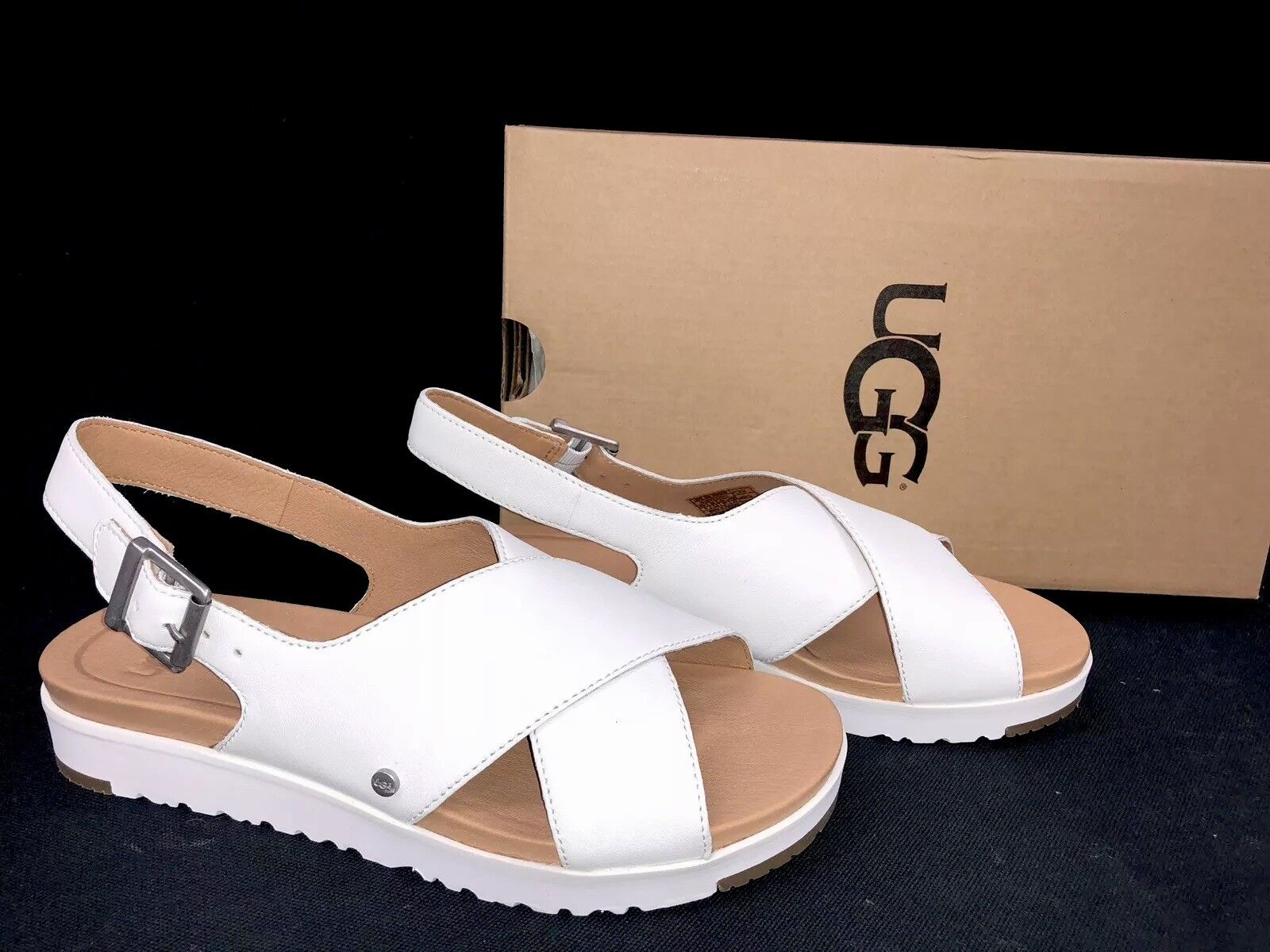 UGG Australia Women's KAMILE White Leather 1092429 Casual Strappy Sandals Shoes