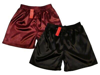 Pyjama Schlaf Shorts (Pyjamashorts Nachtwäsche Kurz Schwarz Bordeaux Shorts Satin Schlafhose Glänzend )