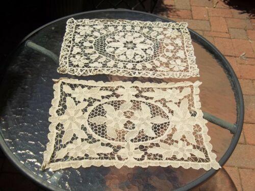 Vintage set 2  Guipure Needle Lace beige Doily Runner set beige Floral Beautiful