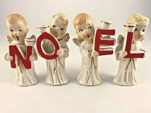 Vintage Commodore Noel Choir Angels Christmas Figurines Candle Holders        G
