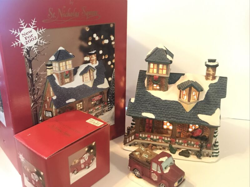 St Nicholas Square Christmas Village Hughs Feed and Grain Store w/ Pickup Truck