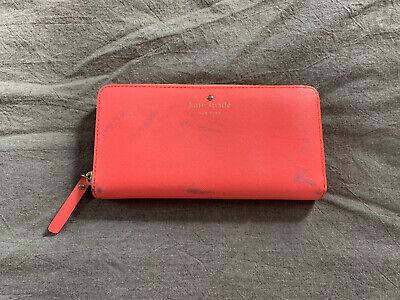 Kate Spade Zip Around Leather Wallet - Bright Pink