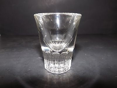 FEDERAL CLEAR SHOT GLASS PRESSED CUT VERTICAL RIBBED