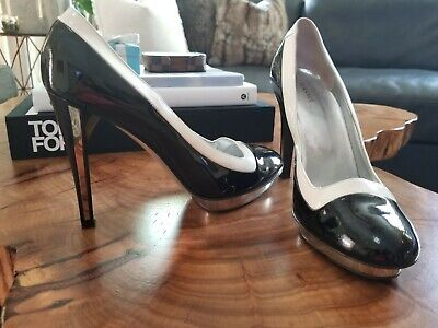 Versace Patent Leather Black, White & Mirror Platform Heels Size 39 US Size 9