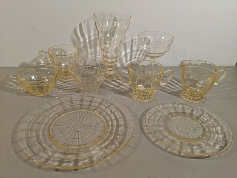 HUGE LOT OF VINTAGE BLOCK OPTIC Anchor Hocking TOPAZ YELLOW TUMBLER PLATE CUP