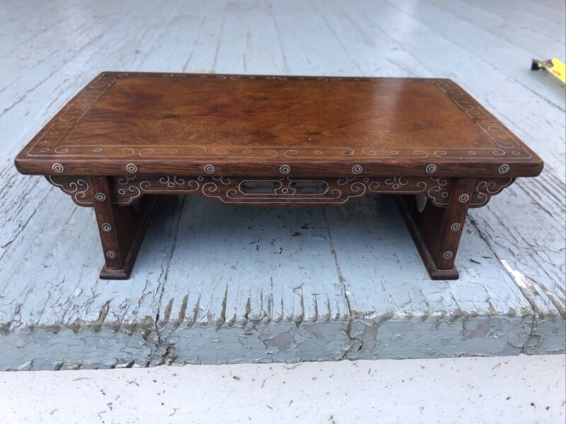 OLD CHINESE CARVED ANTIQUE HARD Burl WOOD Silver Inlay SMALL DESK TABLE STAND