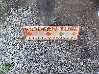Modern Tube Television Wooden Store Advertising Sign 37  X 11