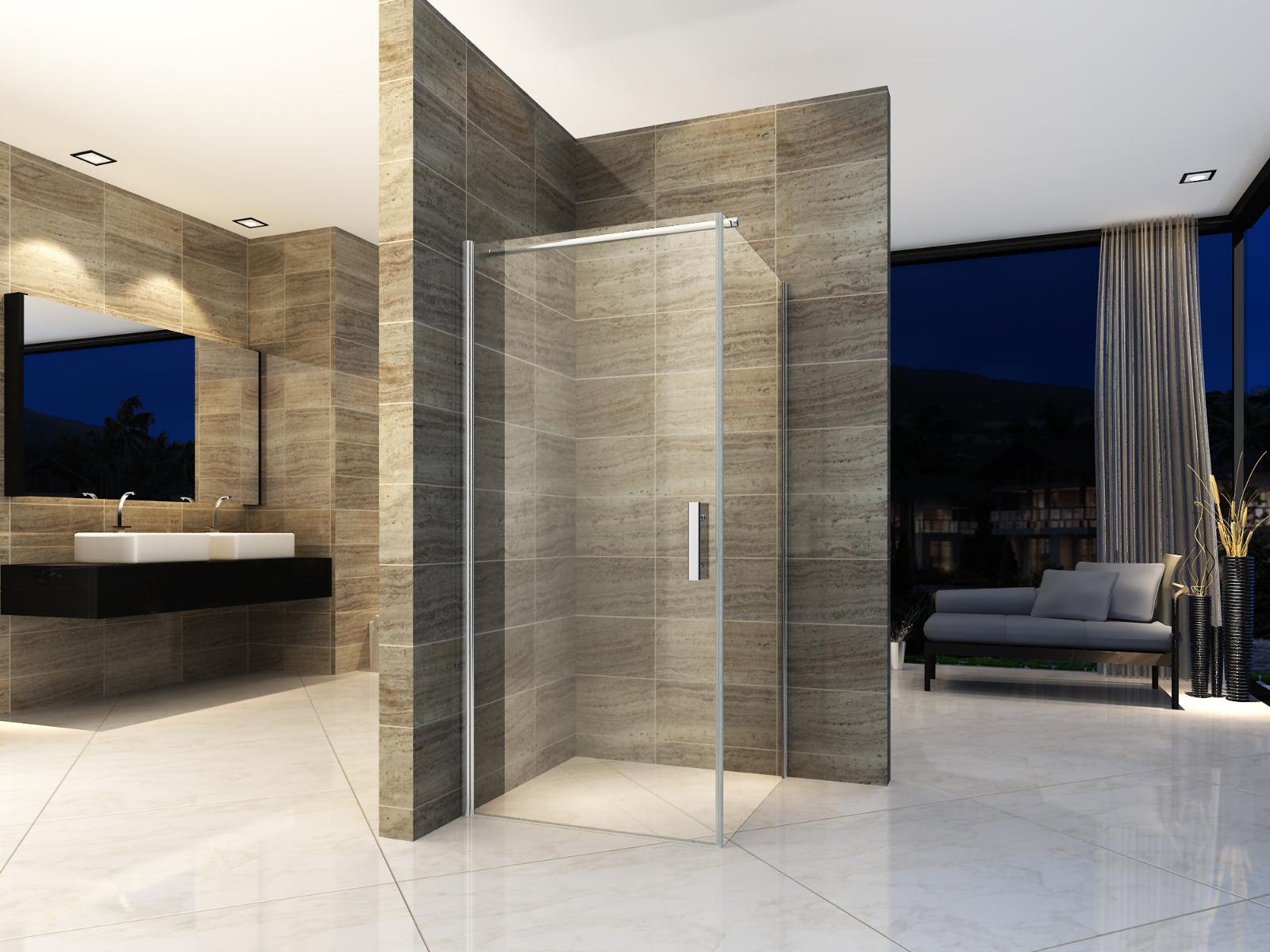 Duschkabine 90x90 Dusche Eckdusche Duschabtrennung Schwingtür ESG Glas NANO