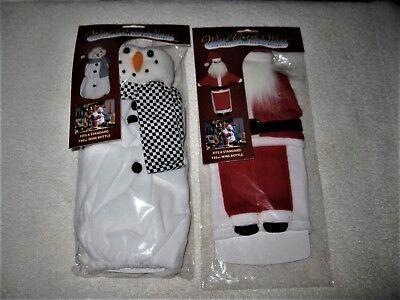Lot of 2 Santa & Snowman Fun Dress Up Wear for Wine Bottles NIP Christmas Cute! - Halloween Dressing Up Origin