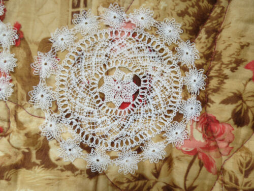 Antique Vtg Hand AREMENIAN Doily Set of 8 String Lace Coasters 1920