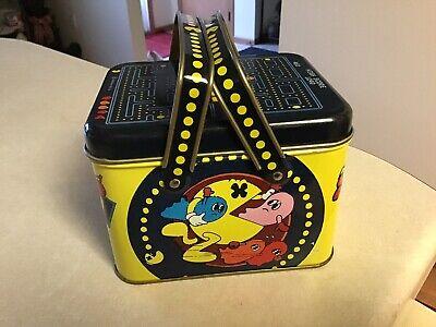 Rare Vintage Pac-Man Lunchbox Tin Storage Box 1980s Bally Midway Video Game