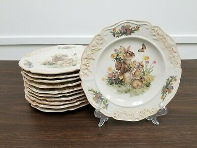 Easter Country Bunny Plates Set of 12 NEW 8 inch Salad Plate Set