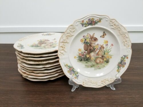 Easter Country Bunny Plates Set of 12 NEW 8 inch