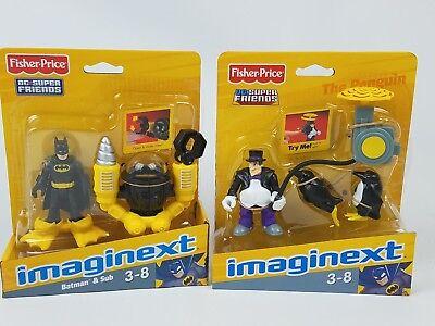 Imaginext Batman and Penguin lot 2008 2012 versions DC Super Friends Mattel ()