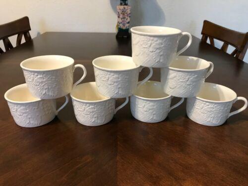 "Mikasa ENGLISH COUNTRYSIDE White Flat Coffee Tea Cups Set of 8  2 5/8"""