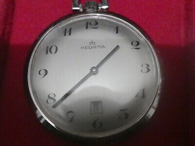 Swiss Helvetia new old box POCKET WATCH works 40mm movement (X171a)