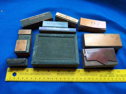 10 Antique Letterpress LOT Block Printer Advertising Cameo Leather VTG Wood #7