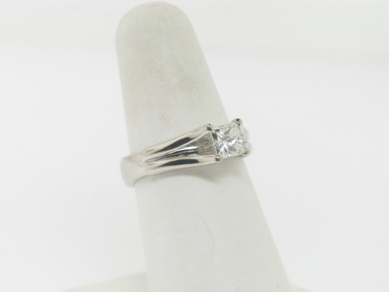 18K White Gold .64 CT Princess Cut Engagement Ring (Internally Flawless) (GIA) 3
