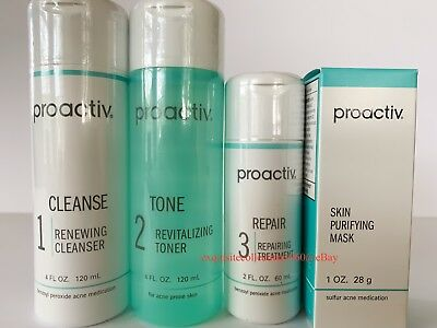 Proactiv 60 Day 4 piece Kit 3 Step System Proactive + Free Mask 11/2020 Expiry