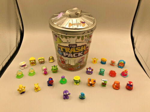 Trash Pack Lot of 324 figures plus 2 mini figures, and metal trash can