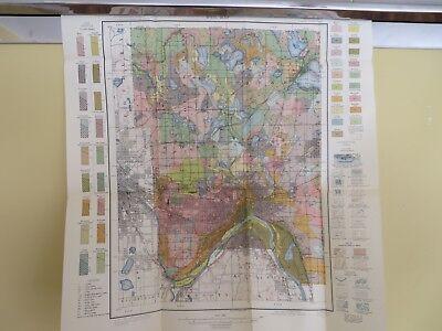 1914 Antique Map Minnesota Ramsey County Minneapolis Saint Paul 19 X 21