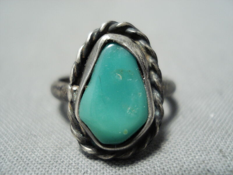 STUNNING EARLY VINTAGE NAVAJO TURQUOISE STERLING SILVER ROPE RING OLD