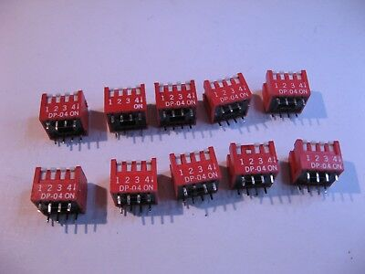 Dip Switch 4 Position Through Hole Mount Right Angle Dp-04 Used Pcb Pulls Qty 10