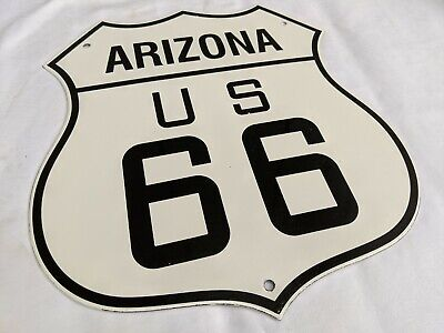 VINTAGE OLD ARIZONA 1950'S ROUTE 66 PORCELAIN ENAMEL ROAD SIGN HIGHWAY SIGN
