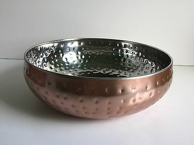 *NEW CONTEMPORARY COPPER SILVER DECORATIVE hammered dish fruit bowl .