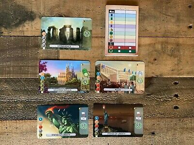 7 Wonders Duel promo expansion Statue of Liberty 1 & 2 Messe Stonehenge Sagrada