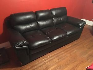 Bonded Leather Love Seat and Sofa and Ottoman