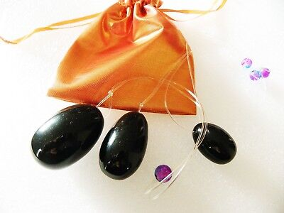 Used, 3 Kegel Obsidian Eggs on clear strings   Vaginal Tightening Ben Wa Yoni jade for sale  Shipping to Canada