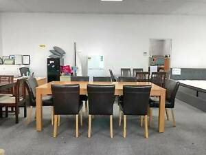 TODAY DELIVERY 9 pcs MODERN WOOD dining table and leather chairs