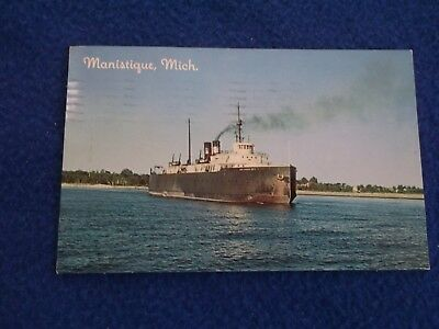 Post Card ~ Manistique MI ~ with Stamp