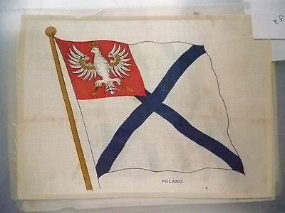 1930's SILK- POLAND FLAG- B.D.V. CIGARETTES POSTCARD SIZE SILK (16X11.5cm)