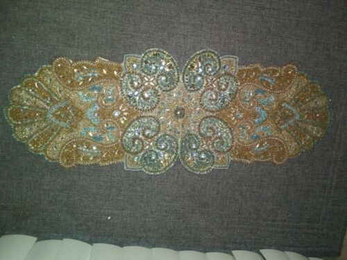 """Pier 1 Beaded Table Runner BEAUTIFUL 35"""" x 13"""" Estate FInd Tag still attached"""
