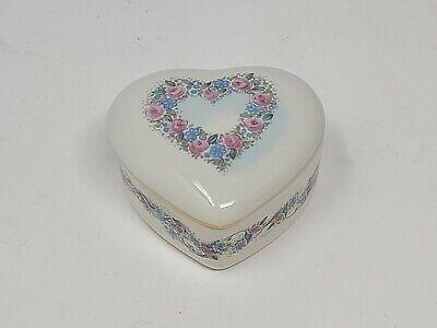 Vintage Otagiri Romanee Heart Shaped Trinket Jewelry Box Heart Porcelain Japan
