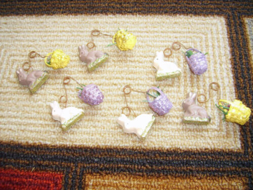 6 Easter Rabbits With Basket Ornaments