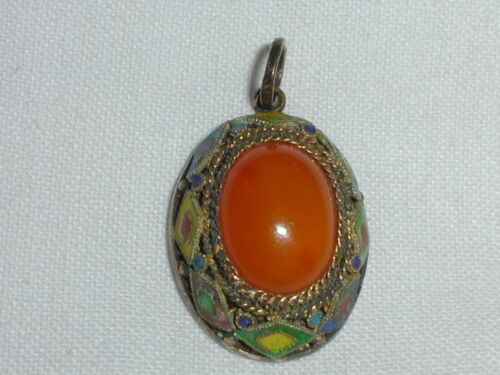 ANTIQUE CHINESE EXPORT SILVER AMBER ENAMELED SMALL PENDANT!