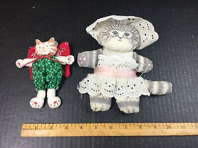Vintage Bean Bag Country Kitchen Rustic TABBY CAT COOK + Christmas Tree Angel