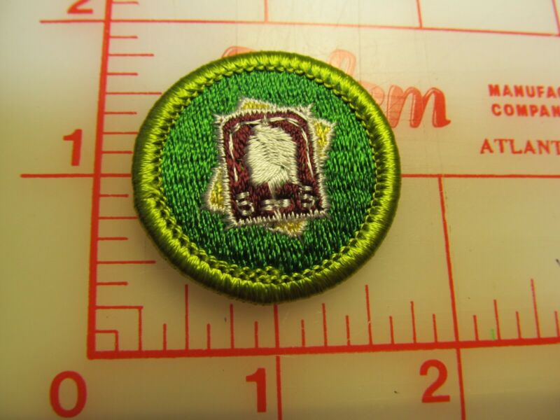 STAMP COLLECTING merit badge plastic backed patch (oP)