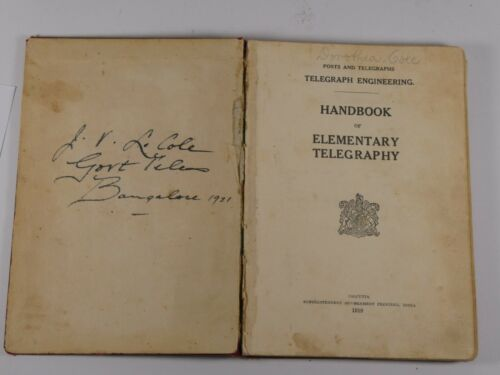 Handbook of Elementary Telegraphy 1919 Telegraph Engineering India Historical