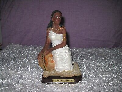 ~ African Heritage ~ Ceramic Lady Figure ~ Brass Plate Wood Base ~ for sale  Shipping to Nigeria