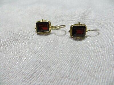 1920s Art Deco Jewelry: Earrings, Necklaces, Brooch, Bracelets Art Deco Bohemian Garnet Stone Gold Wash 925 Sterling Leverback Petite Earrings $49.99 AT vintagedancer.com