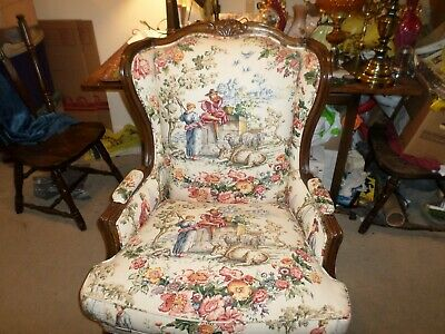 Country French Charles Faudree Upholstered Arm Chair. Estate Find VG