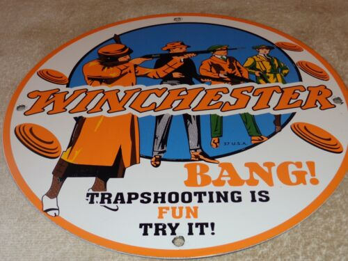 """VINTAGE 1937 WINCHESTER TRAP SHOOTING ISFUN 11 3/4"""" PORCELAIN METAL GAS OIL SIGN"""