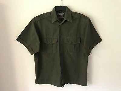 Dow Jones 100  Cotton Short Sleeve Shirt Size S Green