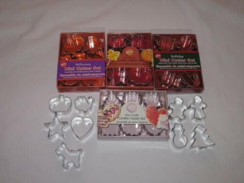Wilton Mini Metal Cookie Cutter Sets Harvest Halloween Holiday Crinkle 33 Total
