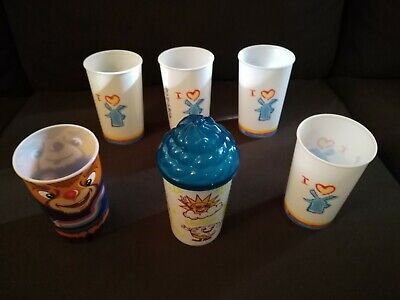 Dutch Bros Brothers Lot of 6 Small Plastic Cups with Lids Windmill Flowers Logo!](Plastic Cups With Logo)