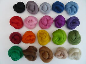 Heidifeathers-Merino-Wool-Tops-Roving-20-Colours-Mix-100g-Felting-Spinning